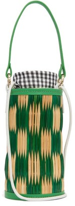 Heimat Atlantica Cupid Mini Leather-trimmed Woven-reed Bucket Bag - Green Multi