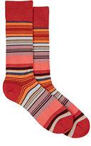Paul Smith Men's Jess-Striped Mid-Calf Socks-RED