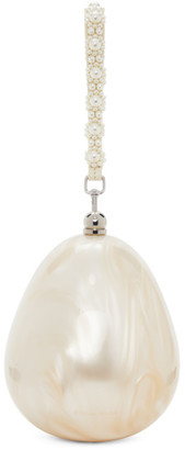 Simone Rocha Off-White Mini Handheld Pearl and Perspex Egg Bag