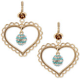 Betsey Johnson Gold-Tone Clear and Blue Crystal Heart Drop Earrings