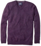 Charles Tyrwhitt Purple Donegal v-neck sweater