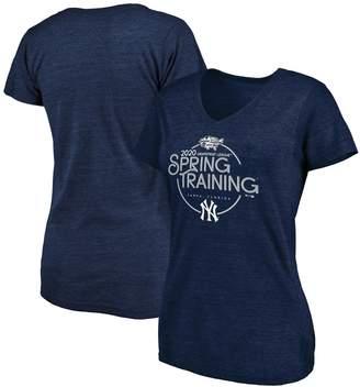 New York Yankees Women's Fanatics Branded Heathered Navy 2020 Spring Training Round Trip Tri-Blend V-Neck T-Shirt