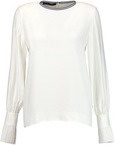 Mother of Pearl Peyton pleated knitted top