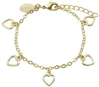 Luxiro Gold Finish Open Hearts Girl's Dangling Bracelet