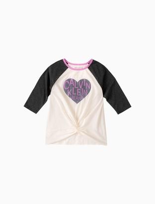 Calvin Klein Girls Heart Logo Twist-Front Raglan Tee