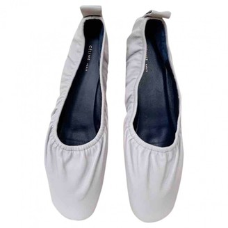 Celine Soft Ballerina White Leather Ballet flats