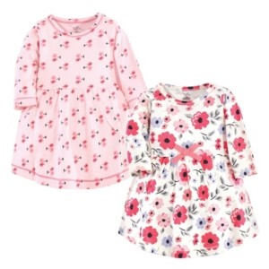 Touched by Nature Baby Girl Long Sleeve Organic Dress, 2 Pack