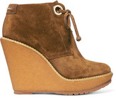 Burberry Suede Wedge Boots - Tan