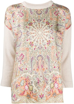 Etro Paisley Print Contrast-Sleeve Jumper