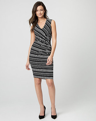 Le Château Stripe Knit V-Neck Sheath Dress