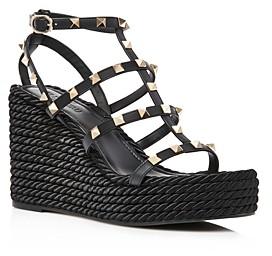 Valentino Women's Rockstud Torchon Espadrille Wedge Platform Sandals