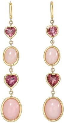 Mocola Four Tier Pink Tourmaline & Pink Opal Gemstone Drop Earrings