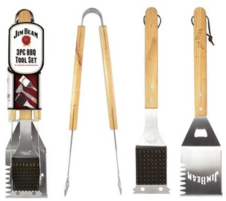Jim Beam 3-Piece Barbecue Tool Set with Stainless Steel Cleaning Brush, Spatula and Tongs