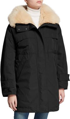 Moncler Lagopede Fur-Collar Hooded Parka