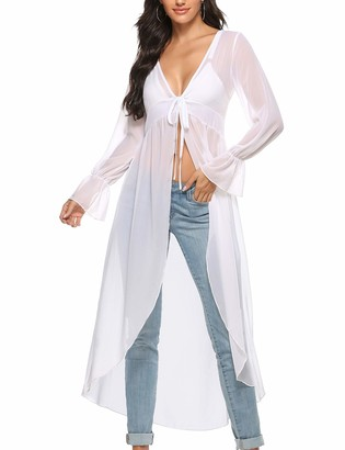 Akalnny Women's Long Cardigan Long Sleeve Sheer Lightweight Floaty Duste Cover-ups for Summer Beach Sea Party Holidays(White X-Large)