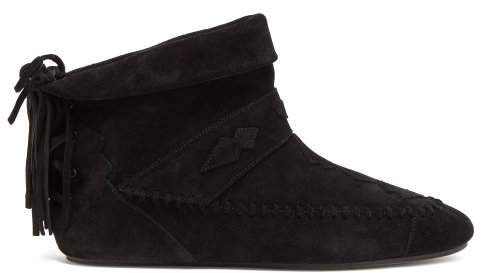 Saint Laurent Tasseled Suede Ankle Boots - Womens - Black