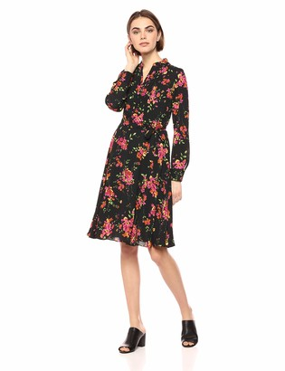 Nanette Lepore Women's Ls Pleated Printed Shirt Dress W/Henley Nkln