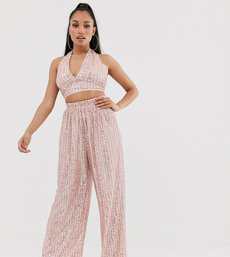 TFNC Petite Petite wide leg sequin pant in pink and silver