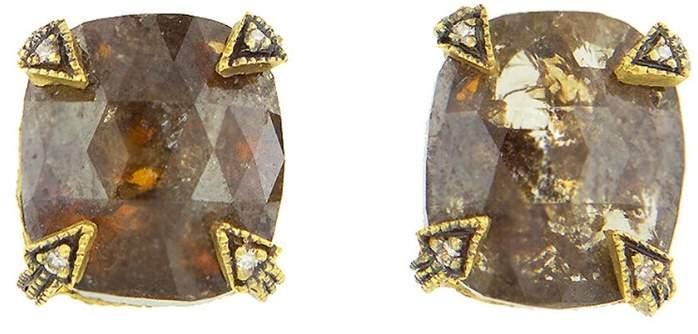 Cathy Waterman Cushion Cut Rustic Diamond Blackened Thorn Stud Earrings - 22 Karat Gold