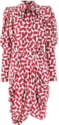 Isabel Marant Geometric-Print Pussy-Bow Gathered Dress