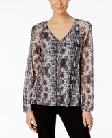 INC International Concepts Petite Printed Lace-Up Blouse, Created for Macy's