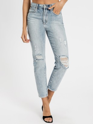 Articles of Society High Amy Mom Slim Jeans in Distressed Blue Denim