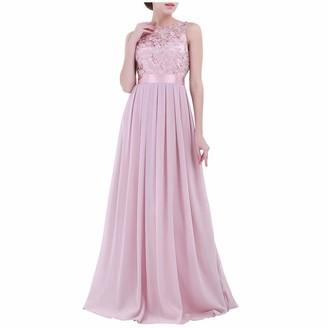 ZLDDE Women's Elegant Floor Length Empire Waist Chiffon Long Bridesmaid Evening Dress Light Pink Chiffon Open Back Sleeveless