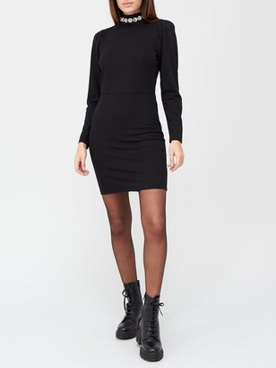Very Collar Trim High Neck Mini Dress - Black