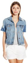 Lucky Brand Women's Short-Sleeve Denim Trucker Jacket