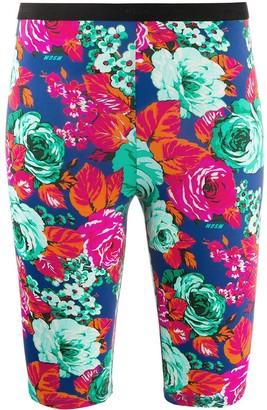 MSGM Floral Print Cycling Shorts