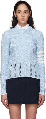 Thom Browne Blue Aran Cable 4-Bar Sweater