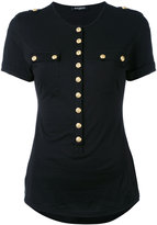 Balmain buttoned T-shirt - women - Cotton - 36