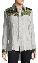 Etienne Marcel Hana Long-Sleeve Button-Down Striped Cotton Shirt w/ Sequins