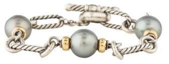 David Yurman Two-Tone Pearl Figaro Link Bracelet