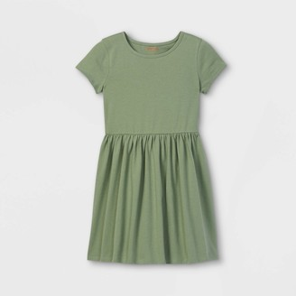 Cat & Jack Girls' Solid Knit Short Sleeve Dress - Cat & JackTM Army Green