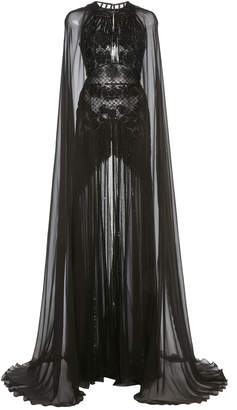 ZUHAIR MURAD Embellished Cape-Sleeve Silk-Chiffon Gown