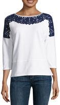 Liz Claiborne 3/4 Sleeve Sweatshirt