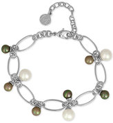 Majorica Silver-Tone Multi Imitation Pearl Link Bracelet