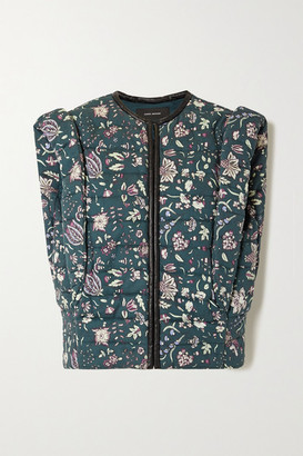 Isabel Marant Adiena Faux Leather-trimmed Quilted Floral-print Cotton Vest - Dark green