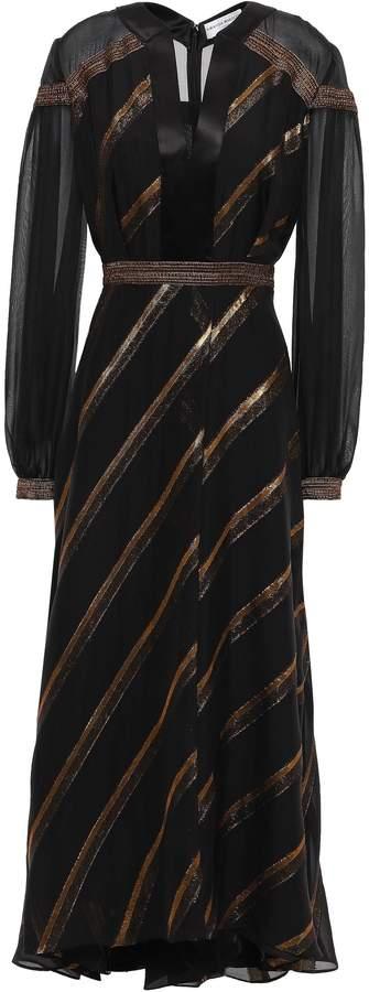 Amanda Wakeley Metallic Striped Fil Coupe Silk-blend Midi Dress