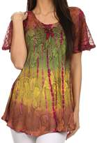 Sakkas 14783 - Dina Relaxed Fit Sequin Tie Dye Embroidery Cap Sleeves Blouse / Top - OSP