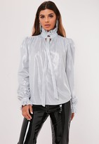 Missguided Silver Shimmer Pussybow Blouse