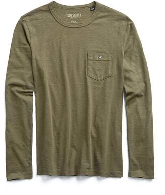 Todd Snyder Made in L.A. Slub Jersey Long Sleeve T-Shirt in Olive