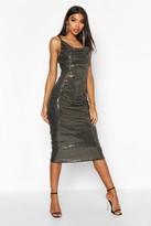 boohoo Tall Cowl Neck Sequin Midi Dress