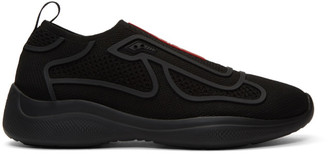 Prada Black Sport Knit 10 Sneakers