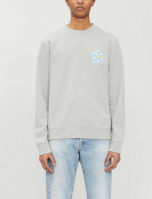 Sandro Daisy-embroidered cotton-jersey jumper