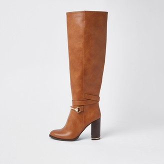 River Island Womens Brown faux leather wood block heel boots