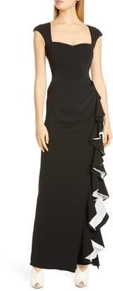 Badgley Mischka Cap Sleeve Ruffle Evening Dress