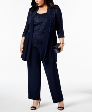 R & M Richards Plus Size Embellished Lace Jacket, Top & Pants
