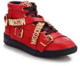 Moschino Logo Wrap-Around Strap Leather Sneakers